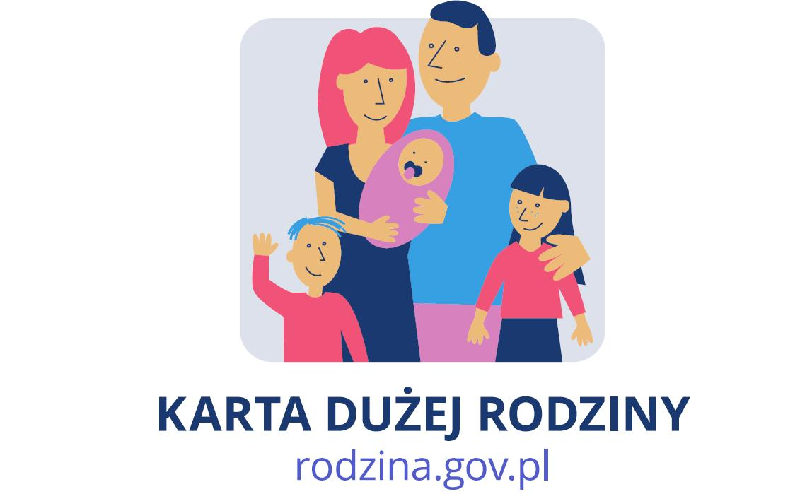 Znak Karty Dużej Rodziny, którym oznacza się miejsca oferujące zniżki dla posiadaczy Karty. Przedstawia rodziców z trójką dzieci.